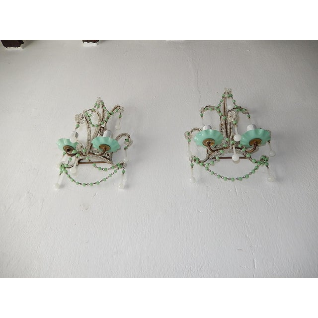 1920s French Rare Sea Foam Green Opaline Sconces, circa 1920 For Sale - Image 5 of 12