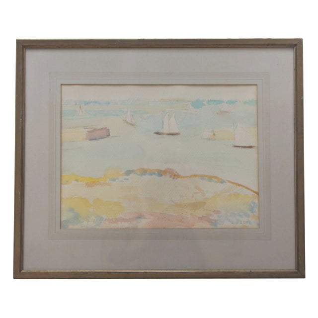 Mid-Century Seascape Watercolor by Liz Ide - Image 1 of 9