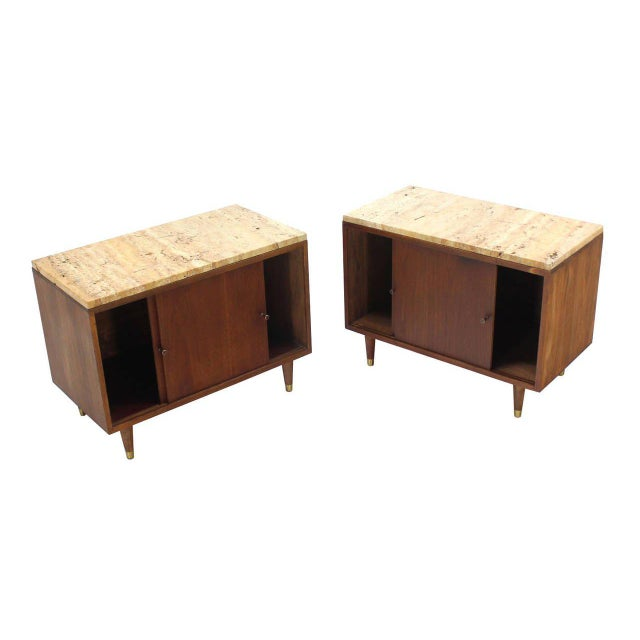 Mid-Century Modern Pair of Marble or Travertine Top Walnut Cabinets with Sliding Doors For Sale - Image 3 of 8