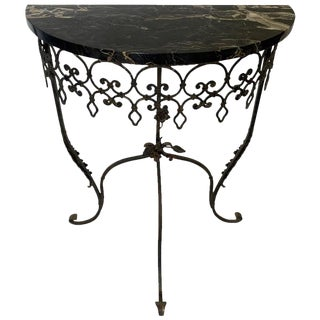 1930s Traditional Wrought Iron Marble Top Half Round Console Table For Sale