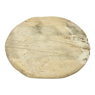 Handcrafted Bleached Wood Vintage Footed German Bread Board For Sale
