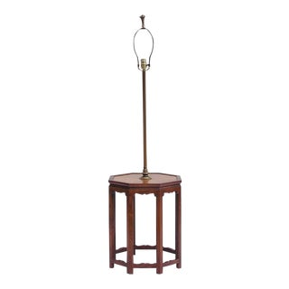 Chippendale Walnut and Burlwood Table Lamp For Sale