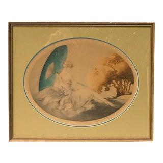 """1927 Vintage Louis Icart """"Femme Avec Parasol Japonais"""" Hand-Signed Aquatint Etching Print For Sale"""