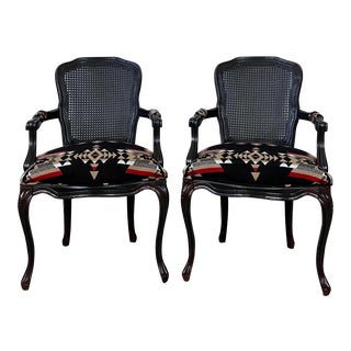 Vintage French Provincial Chairs With Pendleton Fabric- a Pair For Sale