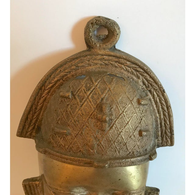 Mid 20th Century Vintage Brass African Mask For Sale - Image 5 of 11