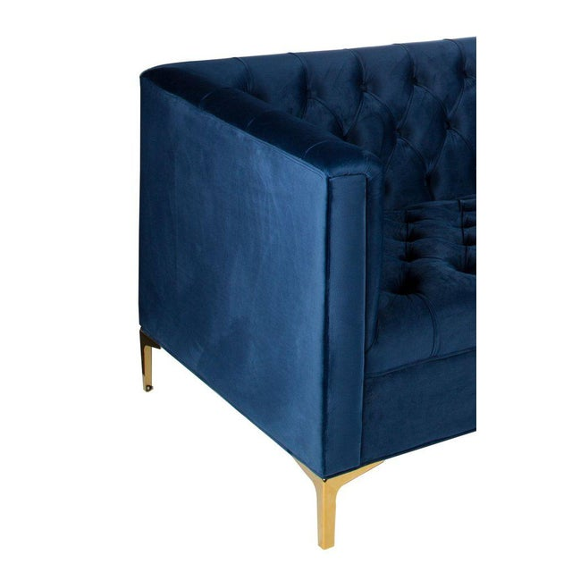 Mid-Century Modern Statements by J Harper Tufted Navy Blue Sofa For Sale - Image 3 of 5