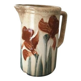 Floral Saltglaze Hand Painted Pitcher For Sale