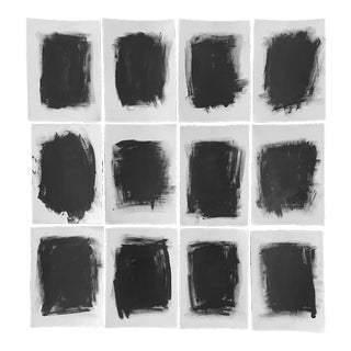 Contemporary Minimalist Graphite Drawings - Set of 12 For Sale