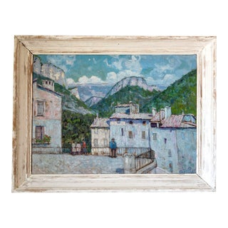 1930's Vintage French Impressionist Village Oil Painting by Pellegrin