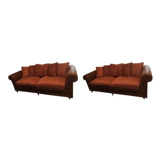 Ralph Lauren Leather and Corduroy Sofas - a Pair