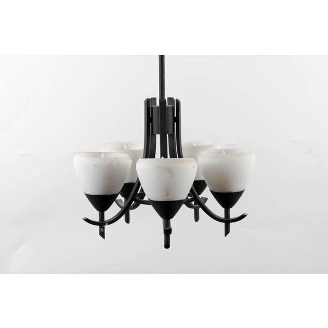 Arts & Crafts Style Gothic 5-Lamp Chandelier - Image 2 of 7