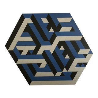 1980s Rotating Geometric Laminate on Board Wall Art