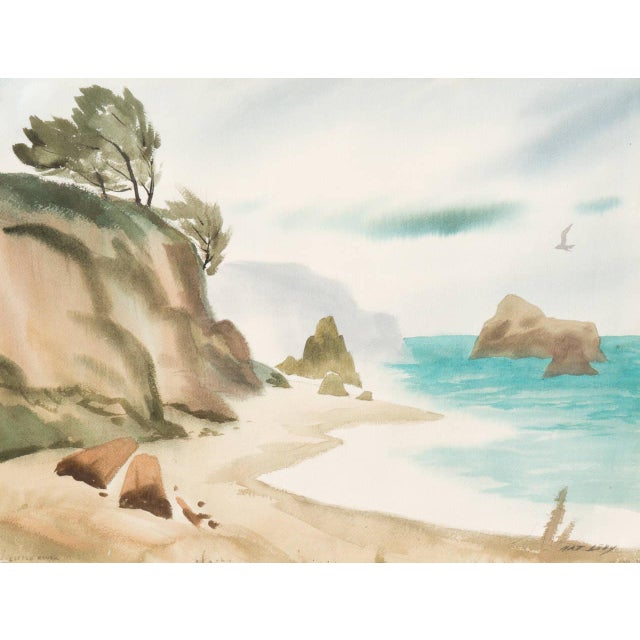 Sand 'Hidden Cove, Big Sur' by Nat Levy, Society of Western Artists, Mid-Century California Watercolor For Sale - Image 8 of 8