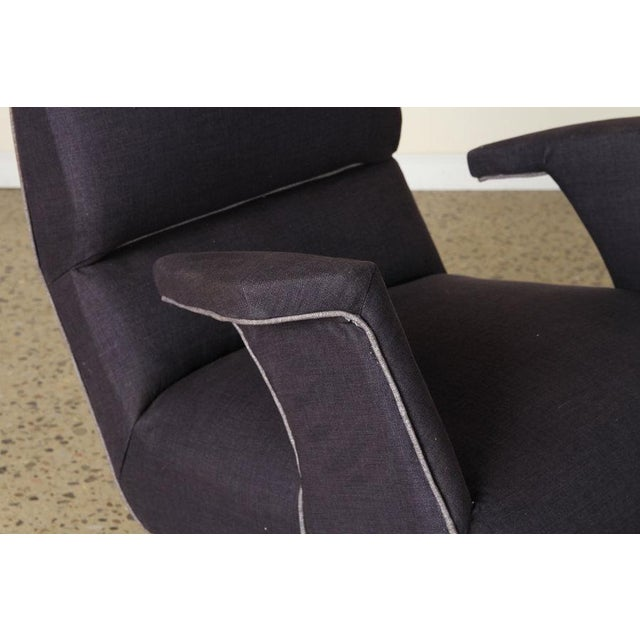 A Pair of George Jetson Style Upholstered Club Chairs For Sale In San Francisco - Image 6 of 7