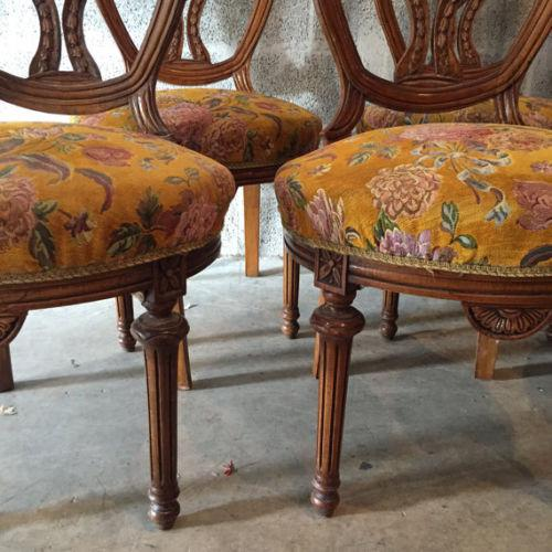 Cotton Louis XVI French Dining Chairs - Set of 6 For Sale - Image 7 of 8