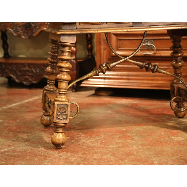 Gold Early 20th Century Spanish Carved Walnut Writing Table With Iron Stretcher For Sale - Image 8 of 12
