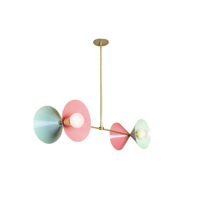 Polarize Pendant Light in Brass With Celadon & Pink Enamel by Blueprint Lighting For Sale