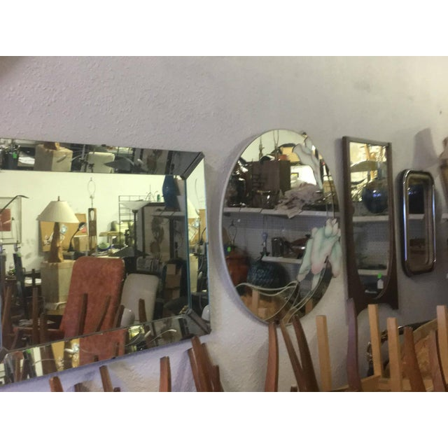David Marshall Large David Marshall Mid Century Modern Round Floral Wall Mirror For Sale - Image 4 of 5