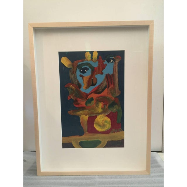 This has been professionally framed with museum non-reflective glass. It is an amazingly colorful figural abstract mounted...