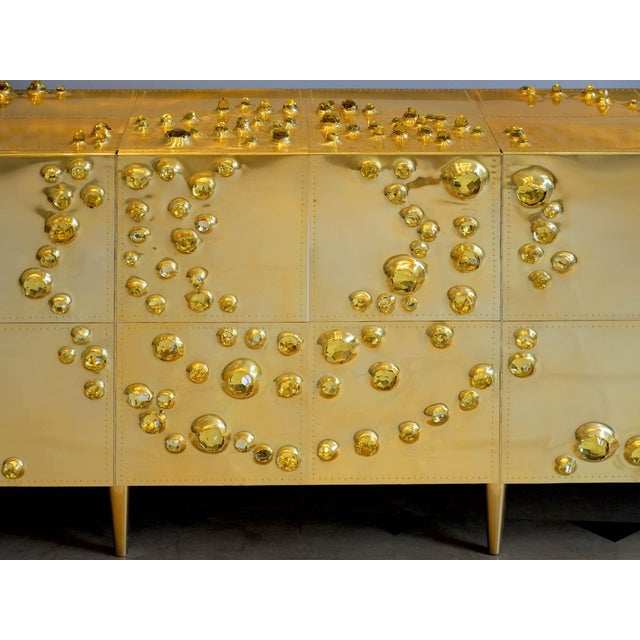 "Roberto Giulio Rida (born in 1943) Sideboard ""Orion"" Brass, glass crystal, wood Unique piece Made in Italy in 2016 Stamped..."