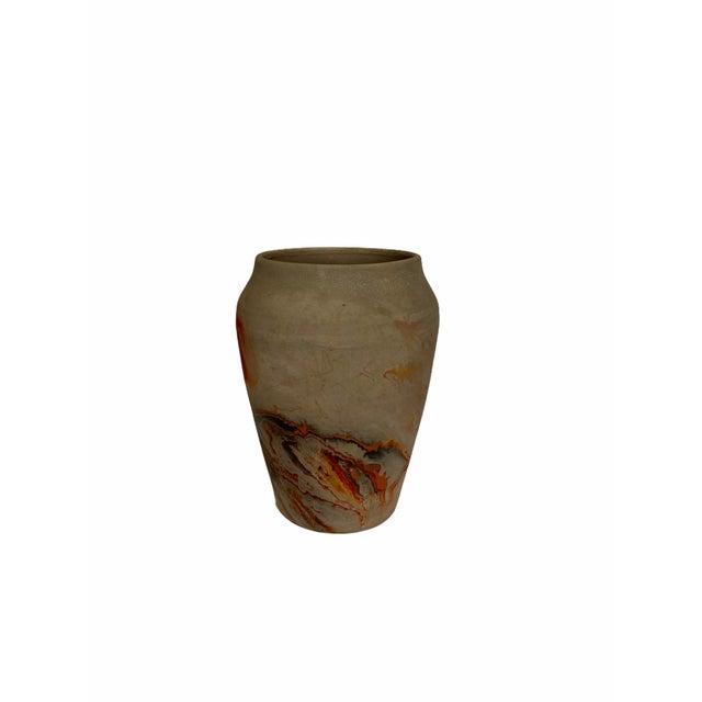 Vintage Nemad Indian Orange Brown Pottery Vase For Sale - Image 4 of 10