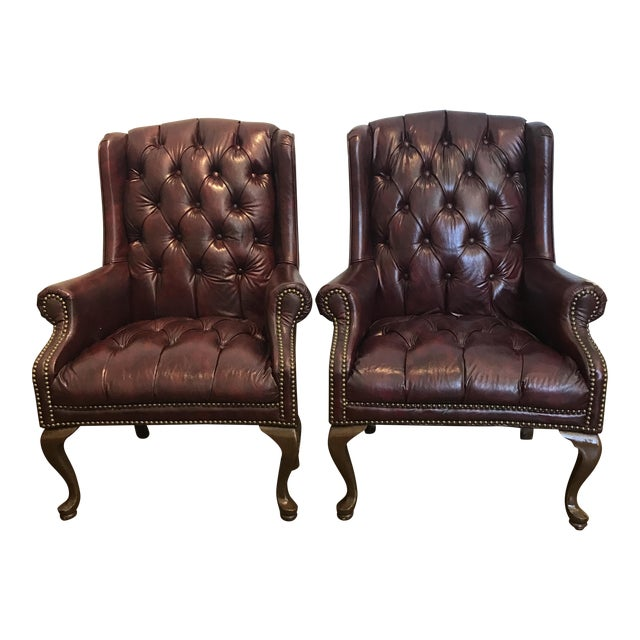 Chesterfield Oxblood Wingback Chairs - A Pair - Image 1 of 11