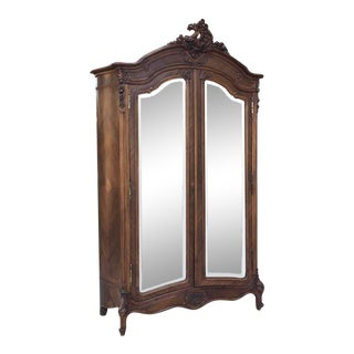 Armoire, 19th Century French Louis XV in Walnut For Sale
