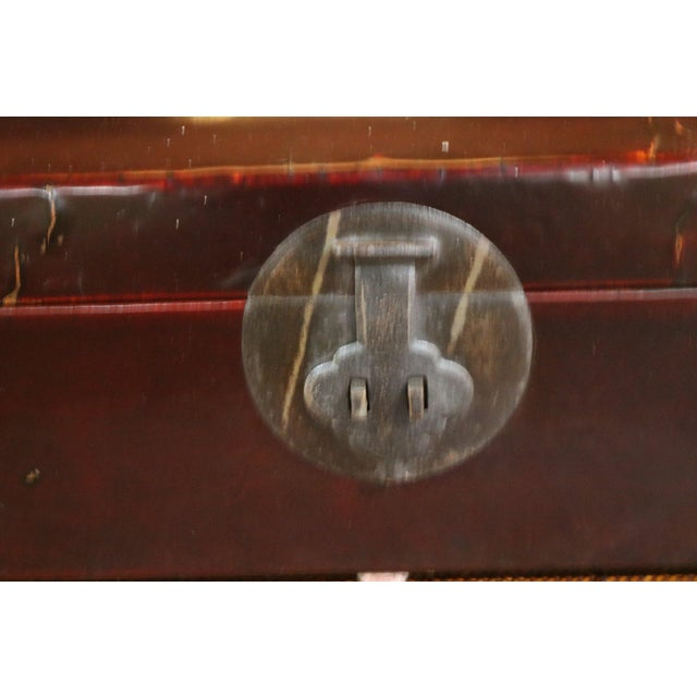 Chinese Black Lacquer Leather Table Chest For Sale - Image 4 of 7