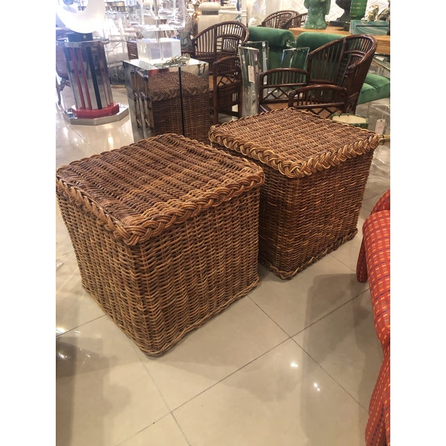 Vintage Tropical Boho Palm Beach Pencil Reed Rattan Stools / Side Tables - a Pair For Sale - Image 9 of 9