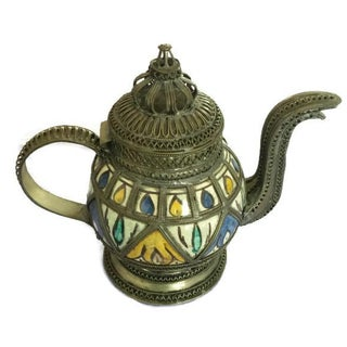 Ceramic Teapot with Metal Filigree Design For Sale