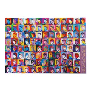 "1993 Peter Max ""100 Clinton's (Bill Clinton)"" Poster For Sale"