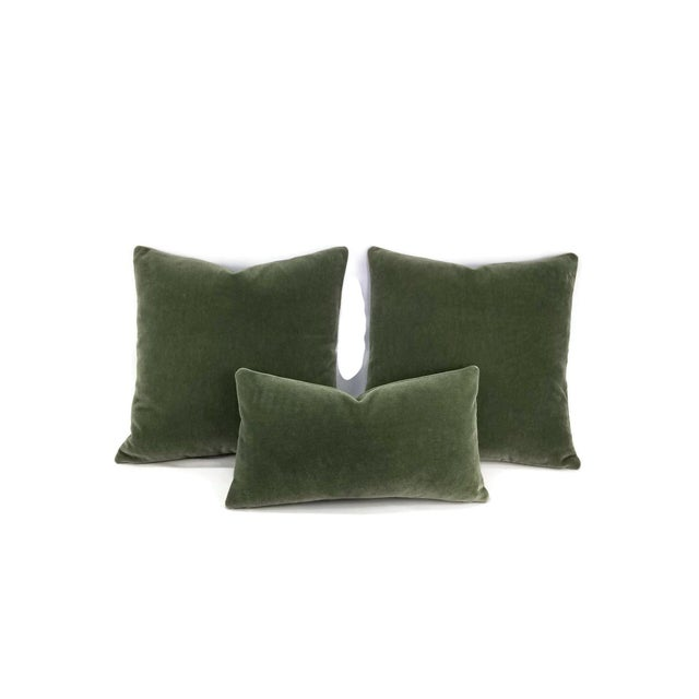 F. Schumacher San Carlo Mohair Velvet in Moss Pillow Cover For Sale In Portland, OR - Image 6 of 7
