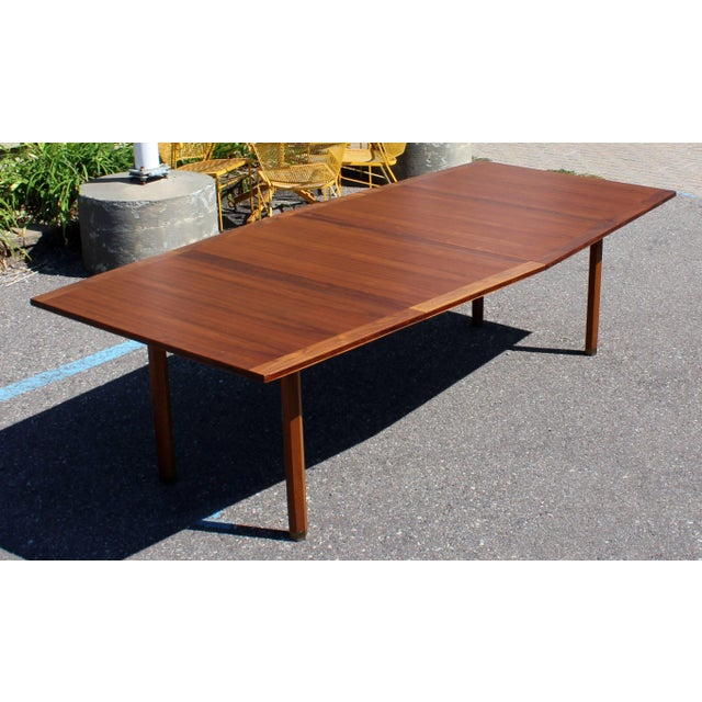 For your consideration is a uniquely fabulous and rare dining or conference table, by Dunbar, with two leaves, circa...