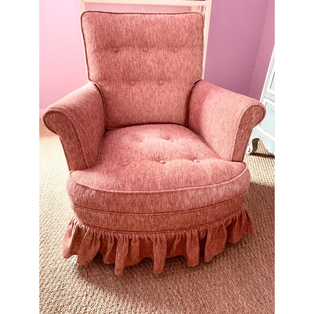 Petite button-tufted chair and ottoman set in a nubby Chanel-inspired salmon pink tweed. In mint condition, with no odors....