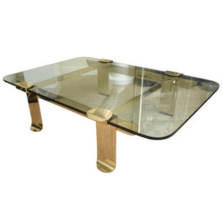 1980s Italian Brass and Glass Cocktail Table For Sale