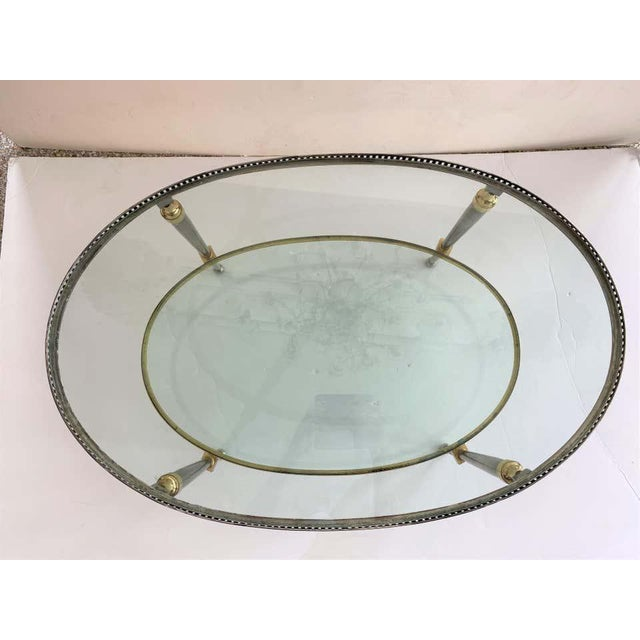 Trouvailles Steel Glass and Brass Oval Cocktail Table For Sale - Image 11 of 13