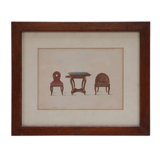 "French ""Three-Piece Furniture Set"" Framed Hand-Colored Illustration For Sale"