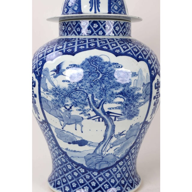 Early 20th Century Vintage Blue White Temple Jar For Sale - Image 10 of 13