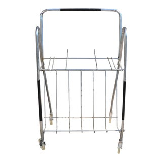 Mid Century Modern Chrome Metal Magazine Rack Cart on Wheels For Sale