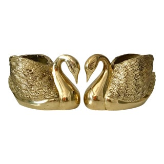 Vintage Solid Brass Swan Planters - a Pair For Sale