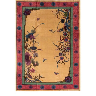 Large Antique Chinese Nichols Wool Rug 11 Ft 8 in X 17 Ft 4 In. For Sale