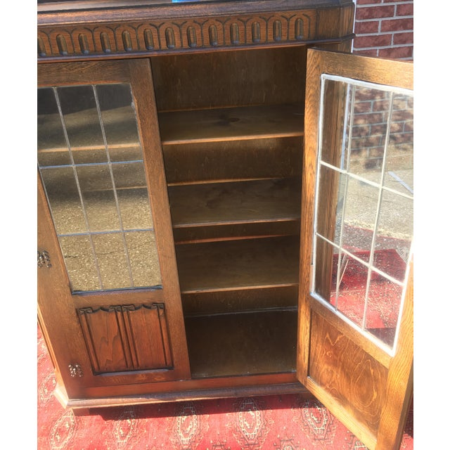 Brown Mid-Century Carved Oak Leaded Glass Bookcase For Sale - Image 8 of 10
