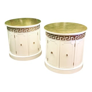Hollywood Regency Style Drum End Tables by Thomasville For Sale