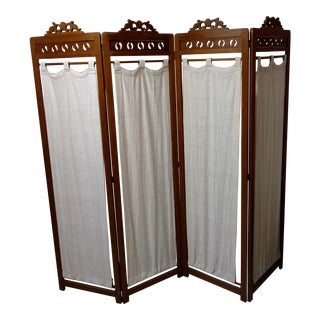 Vintage Carved Wood Room Screen Linen Panels For Sale