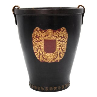 Vintage English Leather Fire Bucket For Sale