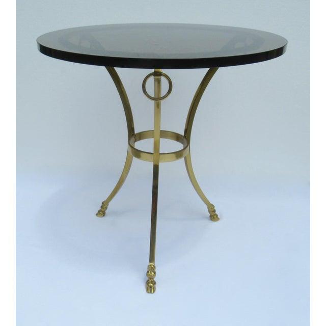 Vintage LaBarge Regency Brass Hoofed & Bronze Glass Gueridon Table For Sale - Image 13 of 13