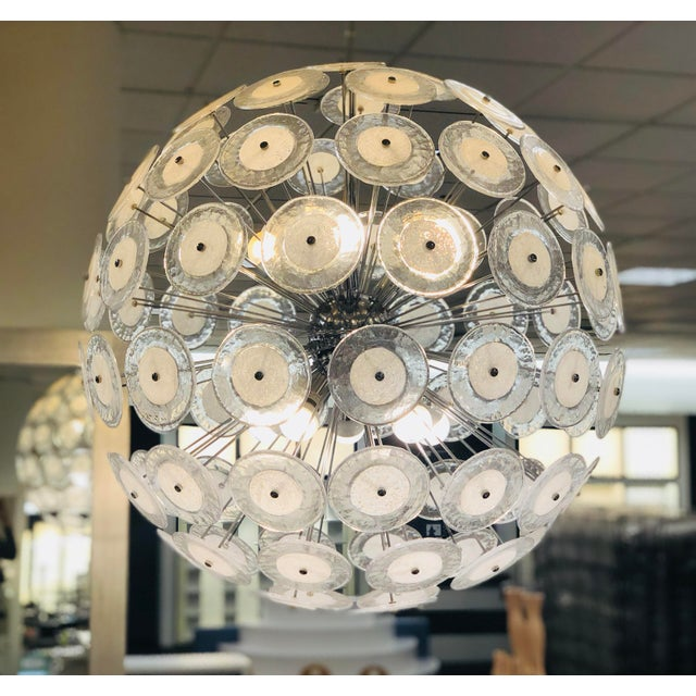 Chrome Italian Vitosi Style Murano Glass Sputnik Chandelier For Sale - Image 8 of 9