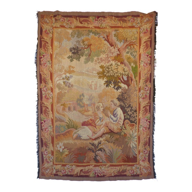 European Aubusson Style Hand Woven Wall Tapestry For Sale