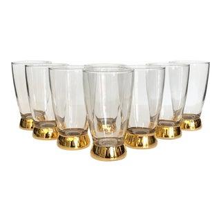 Mid-Century Gold Glasses, Set of 8