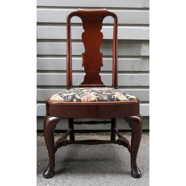 Set of Four 19th Century English Queen Anne Mahogany Splat Back Dining Chairs - Image 4 of 10